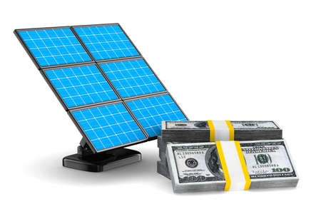 photocell: solar battery and cash on white background. Isolated 3d image