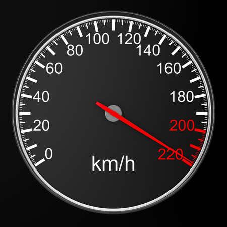 speedometer: tachimetro su sfondo nero. Immagine 3D
