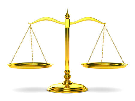 honesty: Scales justice on white background. Isolated 3D image