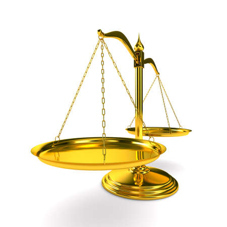 weighing scale: Scales justice on white background. Isolated 3D image