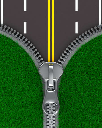 fastening: Zipper with grass and road. Isolated 3D image