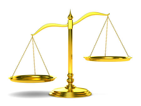 imbalance: Scales justice on white background. Isolated 3D image