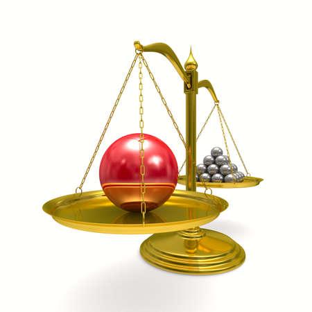 unbalanced: leadership concept on white background. Isolated 3D image