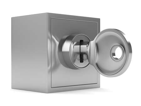 hinges: Safe on white background. Isolated 3D image Stock Photo