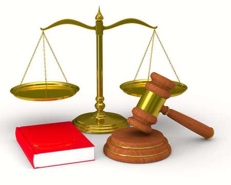 スケールの正義と白い背景の上のハンマー。分離の 3 D イメージ 写真素材