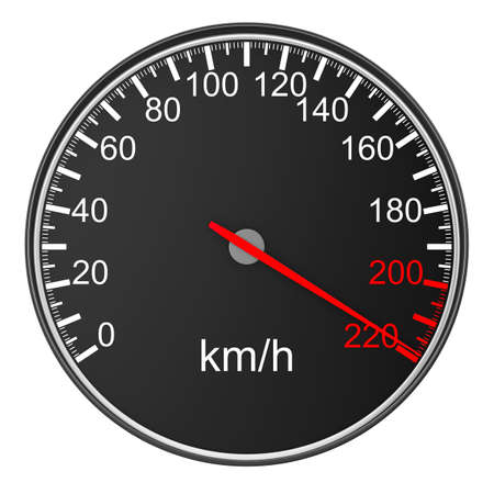 tachometer: speedometer on white background. 3D image