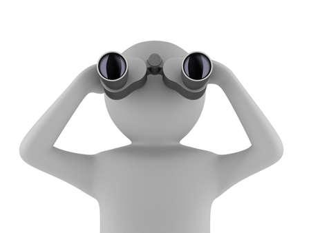 白い背景の上の双眼鏡を持つ男。分離の 3 d イメージ 写真素材