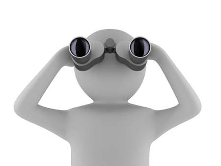 man with binocular on white background. Isolated 3d image  photo