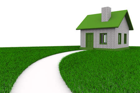 dream house: Road to house on grass. Isolated 3D image