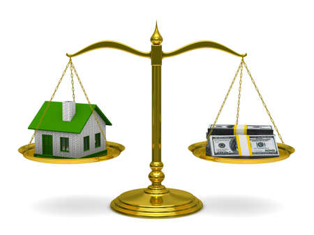 sell house: House and money on scales. Isolated 3D image Stock Photo