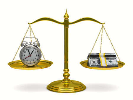 unbalanced: Time is money. Isolated 3D image