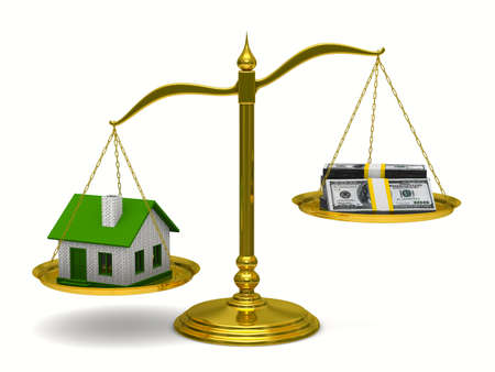House and money on scales. Isolated 3D image photo