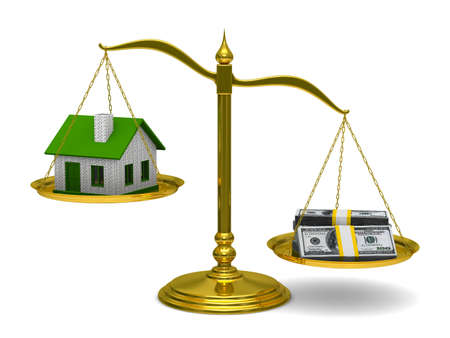 unbalanced: House and money on scales. Isolated 3D image Stock Photo