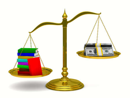 unbalanced: Books and money on scales. Isolated 3D image
