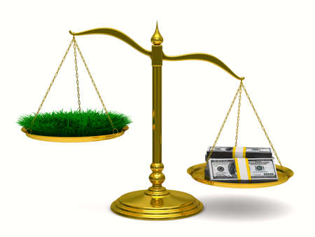 unbalanced: Grass and money on scales. Isolated 3D image