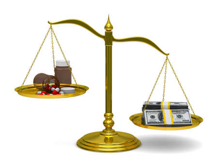 Medicines and money on scales. Isolated 3D image photo