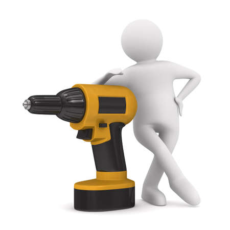 Drill and man on white background. Isolated 3D image