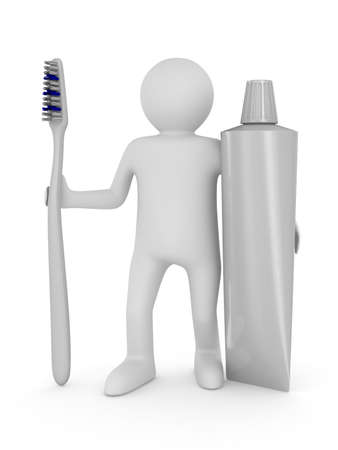 Man with tooth brush. Isolated 3D image Stock Photo - 9950699