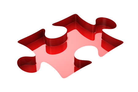puzzle shape: Puzzle on white background. Isolated 3D image