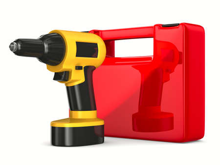 Drill on white background. Isolated 3D image photo