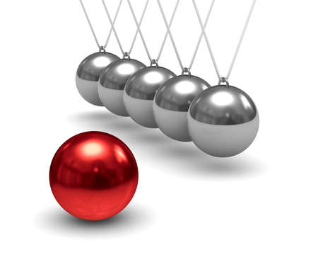 Balancing balls on white background. Isolated 3D image photo