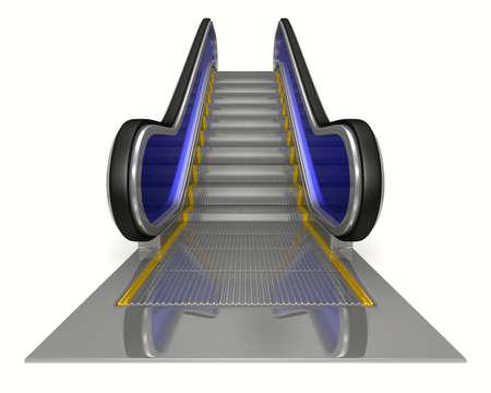 escalator: escalator on white background. Isolated 3D image  Stock Photo