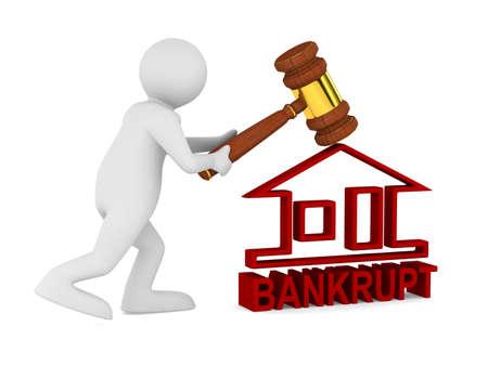 adjudicate: Bankruptcy on white. Isolated 3D image Stock Photo