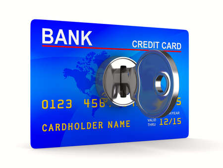 credit card debt: credit card with key. Isolated 3D image