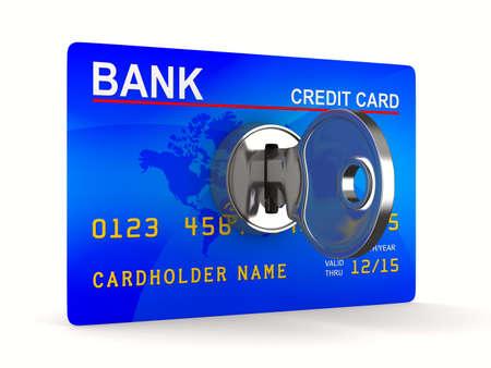 Bank Światowy: karty kredytowej z kluczem. Izolowane obrazu 3D