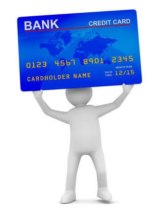クレジット カードを持つ男。分離の 3 D 画像