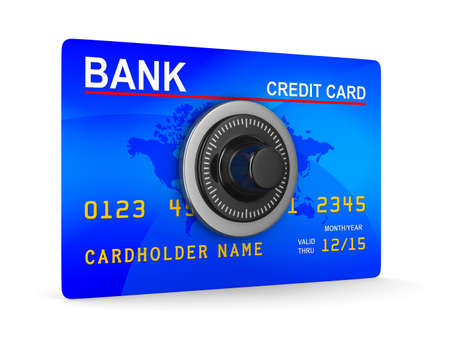 bank transfer: credit card with key. Isolated 3D image