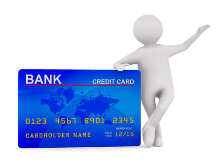 bank transfer: man with credit card. Isolated 3D image