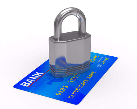 credit card with lock. Isolated 3D image photo