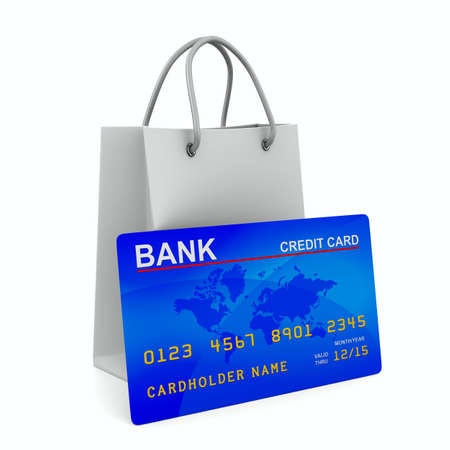 credit card with shopping bag. Isolated 3D image Stock Photo - 10495114