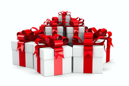 White gift boxes. Isolated 3D image