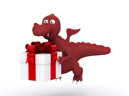 Dragon with white gift box. Isolated 3D image. Stock Photo - 10532173