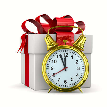 alarm clock and white gift box. Isolated 3D image Stock Photo - 10532181