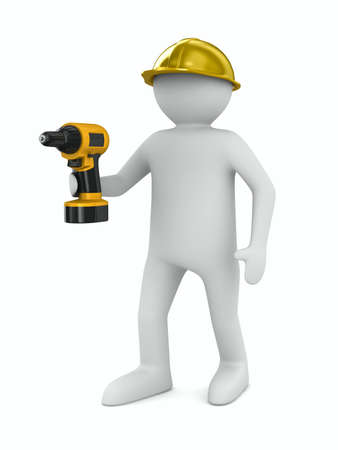 drill bit: man with drill on white background. Isolated 3D image