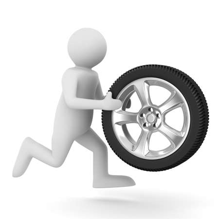 alloy wheel: man with disk wheel on white background. Isolated 3D image Stock Photo