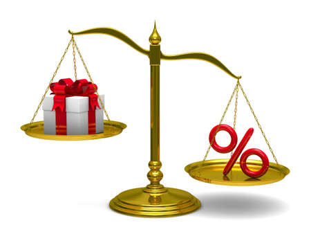 unbalanced: Gift box and percent on scales. Isolated 3D image Stock Photo