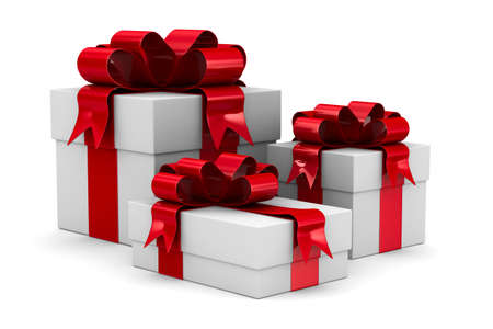 White gift boxes. Isolated 3D image Stock Photo - 10567213