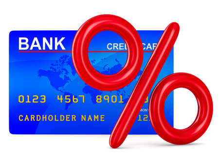 bank transfer: credit card and percent. Isolated 3D image