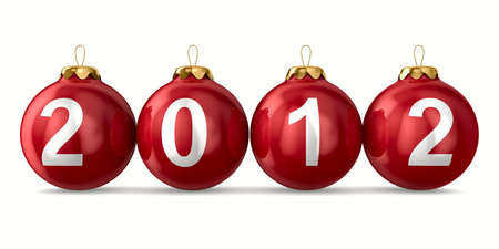 christmasball: Christmas decoration on white background. 2012 year. Isolated 3D image