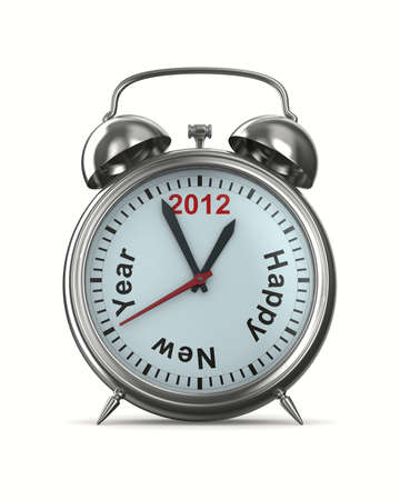 ringer: 2012 year on alarm clock. Isolated 3D image Stock Photo