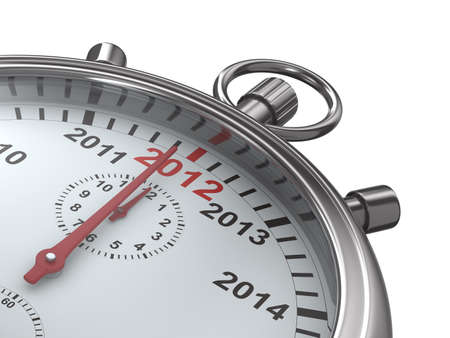 year calendar on stopwatch. Isolated 3D image photo