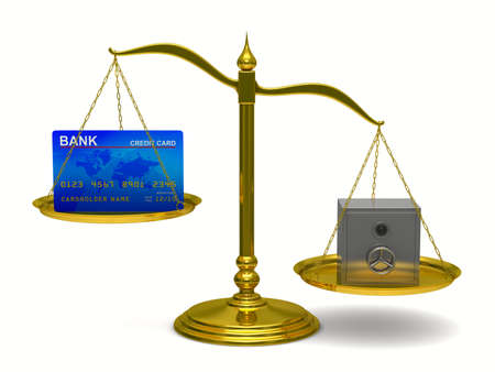 unbalanced: credit card and safe on scales. Isolated 3D image Stock Photo