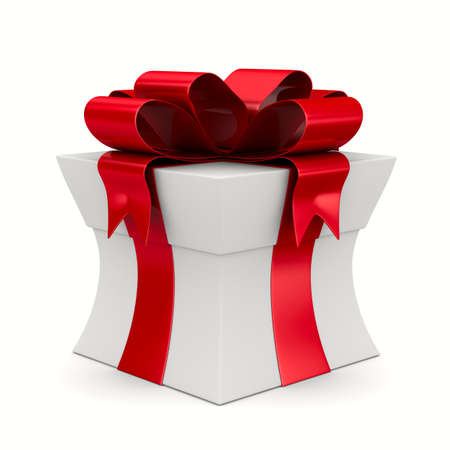 White gift box. Isolated 3D image Banque d'images