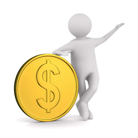 paying money: man with money on white background. Isolated 3D image Stock Photo
