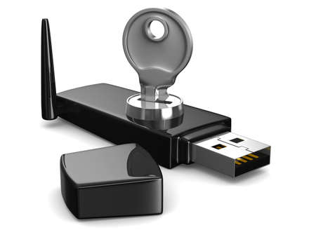 wireless USB modem on white background. Isolated 3D image photo