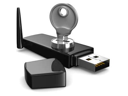 cryptography: wireless USB modem on white background. Isolated 3D image